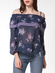 FRENCH BAZAAR Strap Cold Shoulder Floral Print Ruffle Blouse