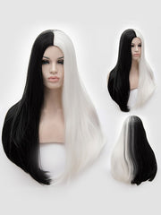 Long Middle Part Two Tone Straight Cosplay Synthetic Wig