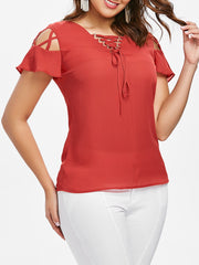 Lattice Cut Short Sleeve Blouse