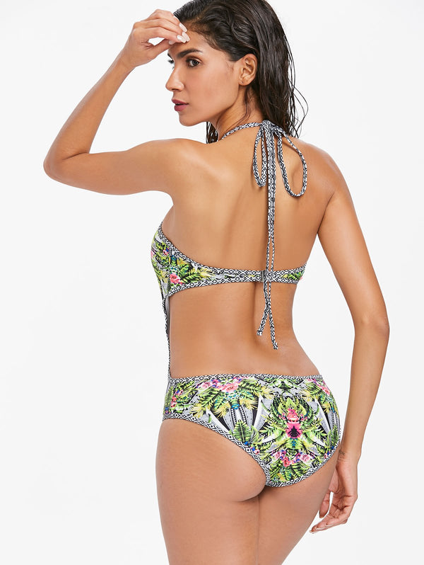 Floral Open Back Swimsuit
