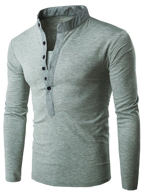 Half Button Stand Collar Solid T-shirt