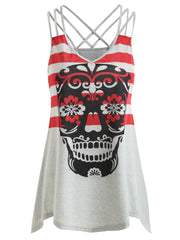 Skull Stripe Cut Out Tank Top