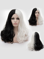 Long Center Parting Two Tone Wavy Cosplay Party Synthetic Wig