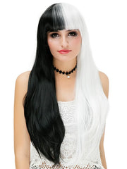 Full Bang Long Two Tone Straight Cosplay Party Synthetic Wig
