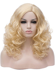 Long Side Parting Cosplay Curly Synthetic Wig