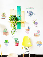 Fresh Succulent Plant Pot Print Wall Art Stickers