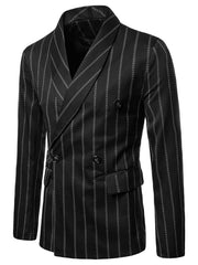 Stripe Print Shawl Collar Double Buttons Blazer