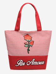 Striped Roses Embroidery Tote Bag