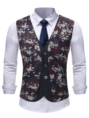 Belt Decor Camouflage Print Fake Two Pieces Waistcoat