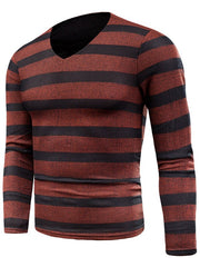 V Neck Wide Striped Mesh T-shirt