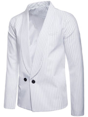 Casual Pinstripe Two Buttons Blazer