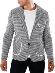 Casual Bordure Patch Pocket Houndstooth Blazer