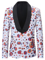 Colorful Dot Pattern One Button Blazer