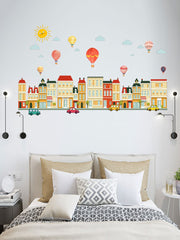 Hot Air Balloon Home Pattern Removable Wall Sticker