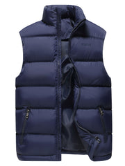 Sleeveless Zip Up Cotton-Padded Vest