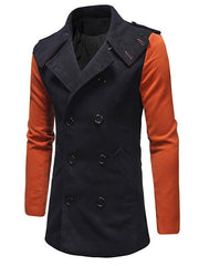 Color Block Double Breasted Lapel Collar Coat
