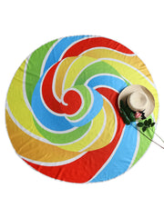 Rainbow Color Round Beach Throw