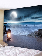 Sea Beach Night Printed Tapestry Art Decoration