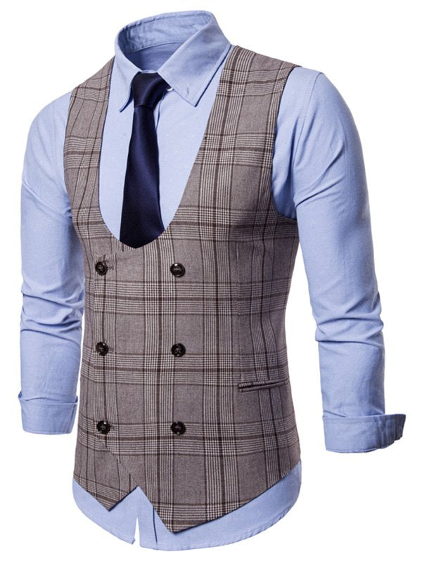 Plaid Pattern Double Breasted Waistcoat