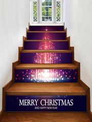 Christmas Star Tree Pattern Decorative Stair Stickers
