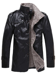 Stand Collar Single Breasted Epaulet Design Coat