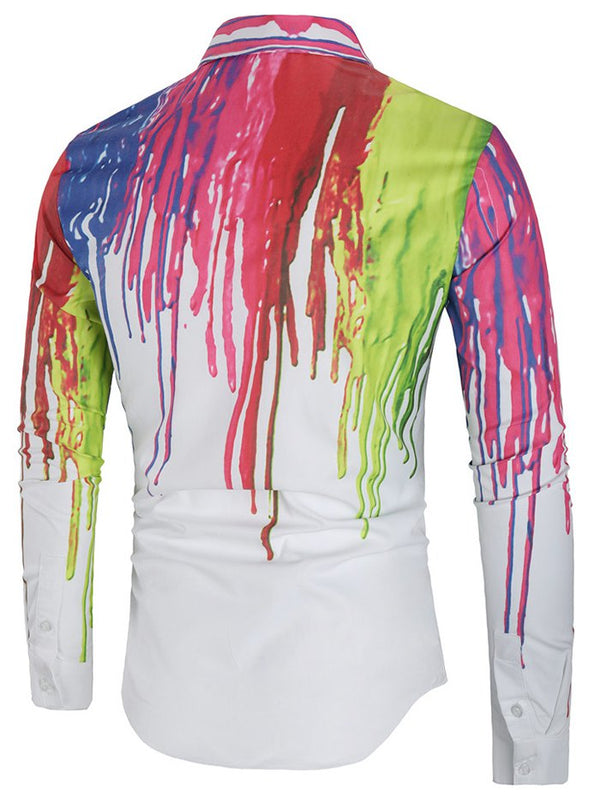 Oil Splatter Print Cover Button Shirt