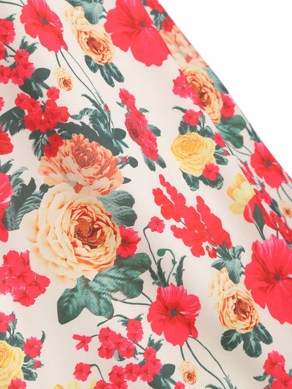 Cap Sleeve Floral Print High Waist Dress