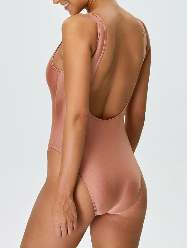 Backless High Cut One Piece Swimwear