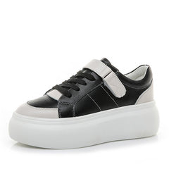 Leather White Shoes Autumn Version Sneakers Women Students Platform Casual Shoes