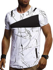 Short Sleeves Lines Panel Casual T Shirt