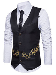 Single Breasted Back Belt Embroidered Vest