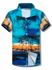 Coconut Trees Scenery Print Beach Short Sleeves Shirt