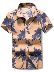 Short Sleeves Coconut Palms Print Beach Shirt