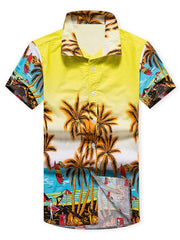 Coconut Trees Beach Scenery Print Short Sleeves Shirt