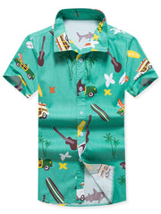 Flowers Coconut Trees Seaside Print Short Sleeves Shirt