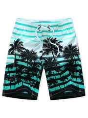 Coconut Tree Stripes Print Casual Beach Shorts
