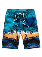 Coconut Palm Print Casual Board Shorts