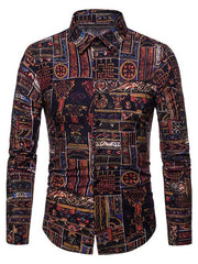 Ethnic Tribal Print Button Up Casual Shirt