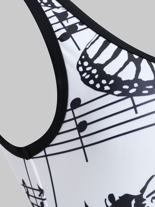 Musical Notes One Piece Low Back Swimwear