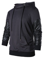 PU Leather Panel Drawstring Hoodie
