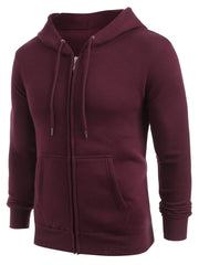 Zip Up Long Sleeve Solid Hoodie