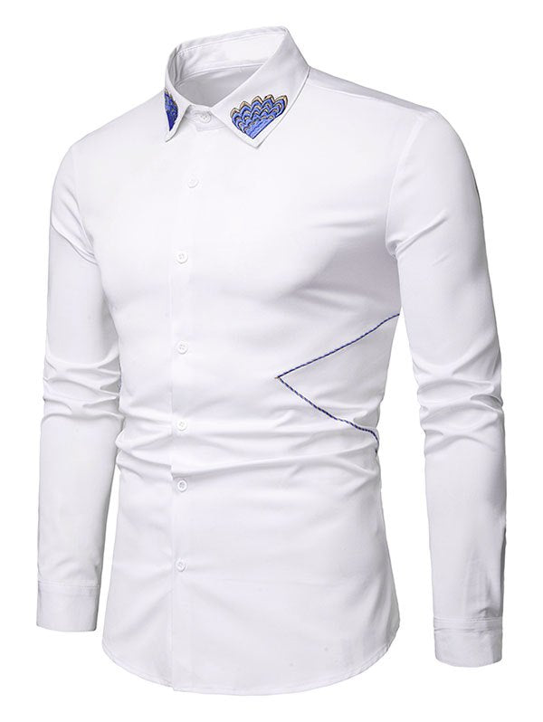 Embroidered Collar Button Up Long Sleeve Shirt