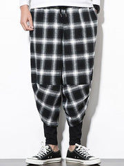 Plaid Print Drawstring Casual Harem Pants