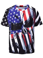 American Flag Printed Short Sleeves T-shirt