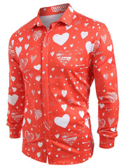 Love Letter Print Button Hidden Shirt
