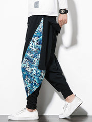 Faux Twinset Sea Waves Print Hip-hop Harem Pants