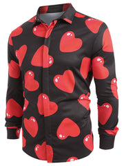 3D Red Love Heart Print Long Sleeve Shirt