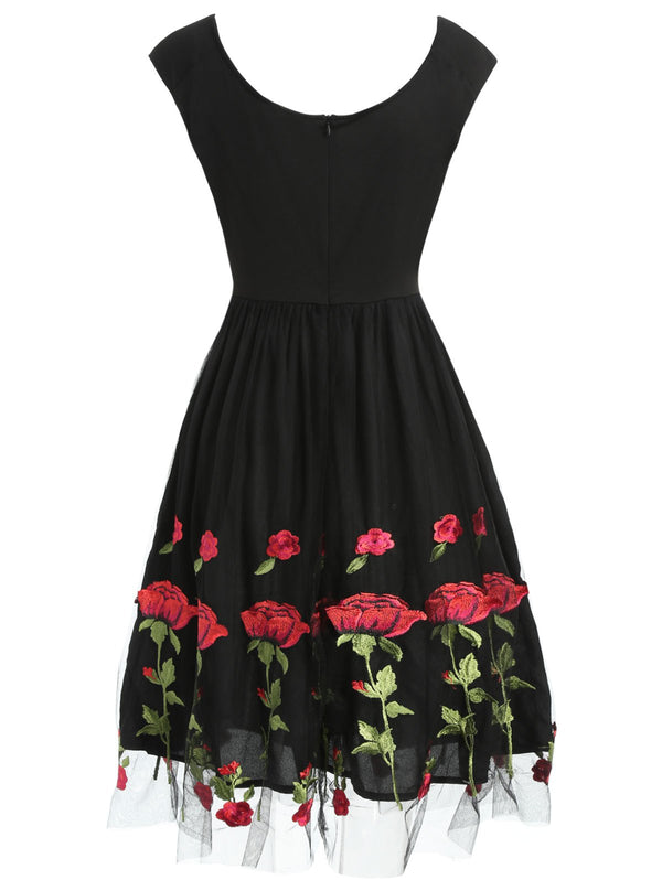 Ruched Embroidered Tulle Dress