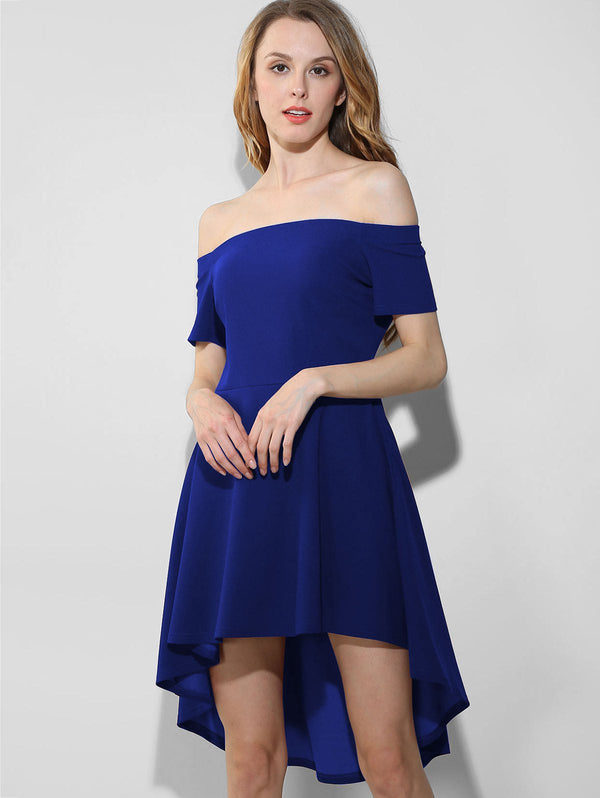 Off Shoulder High Low Party Dress