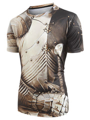 Short Sleeves Armor Print Casual T-shirt